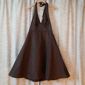 5/$25 J Crew Silk Halter Dress Brown Size 6 PETITE